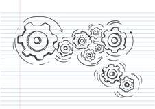 Doodle ikona przekładnie Technologia, Rysująca w czarnym atramencie na prążkowanym notatnika papierze Fotografia Stock