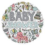 Baby shower. Lettering and doodles stock illustration