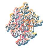 Номера алфавита, нарисованный вручную эскиз doodle Illustr вектора Eps10 Стоковое Изображение RF