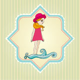 Doodle illustrated summer background Royalty Free Stock Photo