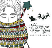 Doodle illustration card girl Santa. New Year. Vector. Coloring page Anti stress  Royalty Free Stock Image