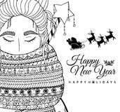Doodle illustration card girl Santa. New Year. Vector. Coloring page Anti stress for adults  Stock Image