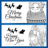 Doodle illustration card girl Santa. New Year. Vector. Coloring page Anti stress for adults and children. Brown white. Stock Photo