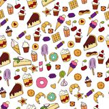 Doodle illustration of desserts and pastries. Hand drawn vector illustration made in cartoon style. Sweets and desserts.  stock illustration