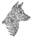 Doodle illustration of a dog head with a tribal pattern Stock Photo