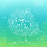 Doodle illustration of Easter eggs on the tree in the leaves in. Linear style on blurred background with bokeh. Easter tree with the Easter Bunny in the grass Royalty Free Stock Images
