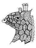 Doodle illustration of giraffe Stock Images