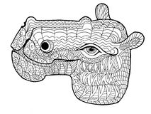 Doodle illustration of hippopotamus Stock Photo