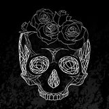 Doodle illustration of a human skull with roses. Stock Images