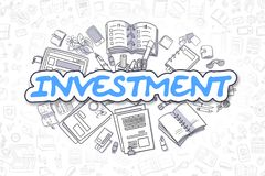 Investment - Doodle Blue Inscription. Business Concept. Doodle Illustration of Investment, Surrounded by Stationery. Business Concept for Web Banners, Printed Royalty Free Stock Photography
