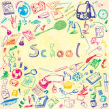 Doodle illustration of school objects. Colorful, watercolor background. Outlined illustration of design elements. Royalty Free Stock Photo