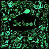 Doodle illustration of school objects. Green neon outlined illustration of design elements, black background. Royalty Free Stock Photos