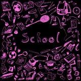 Doodle illustration of school objects. Pink outlined illustration of design elements, black background. Royalty Free Stock Image