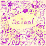 Doodle illustration of school objects. Pink outlined illustration of design elements, watercolor background. Royalty Free Stock Images