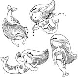 Doodle illustration set with cute mermaids Stock Photo