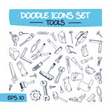 Doodle Illustration Set of Hand Tools. Stock Image
