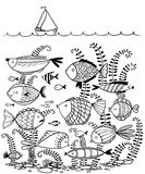 Doodle illustration with underwater fishes and sailing ship Royalty Free Stock Images