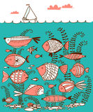 Doodle illustration with underwater fishes and sailing ship Stock Image