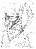 Doodle illustration urchin on skis. Vector. Coloring page Anti-stress for adults  Royalty Free Stock Photography