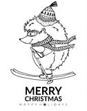 Doodle illustration urchin on skis. Vector. Coloring page Anti-stress for adults and children. Royalty Free Stock Image