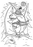 Doodle illustration urchin on skis. Vector. Coloring page Anti-stress for adults and children Stock Photos