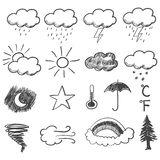 Doodle Illustration Of Weather Icons Royalty Free Stock Photo