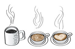 Doodle illustrations of coffee drink Royalty Free Stock Photo