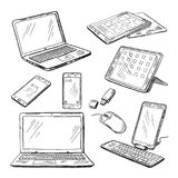 Doodle illustrations of different devices laptop, smartphone, tablet, pc and other. Vector pictures set Stock Photography