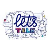 Doodle ilustracja kolorowa dialog mowa gulgocze z ikonami i tekst pozwala rozmowę na białym tle Zbawcza komunikacja ilustracji