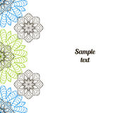 Doodle image. Mandala, circular pattern. S. black, blue and green on White. Hand drawing for text Royalty Free Illustration