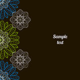 Doodle image. Mandala, circular pattern. S. White, blue and green on black. Hand drawing for text Stock Illustration