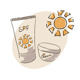 Doodle image sunblock cream. For body skin care. Doodle drawing. Hand drawing. Sun Stock Images