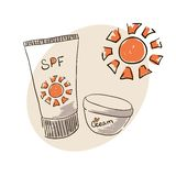 Doodle image sunblock cream for body skin care. Doodle drawing. Hand drawing. Doodle sun. Sunblock cream Royalty Free Stock Photography