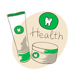 Doodle image. Toothpaste, tooth powder Royalty Free Stock Photos