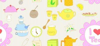 Doodle inconsútil del té ilustración del vector