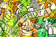 Doodle on India concept Stock Photos