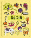 Doodle about India. A set of vector elements of India Stock Images