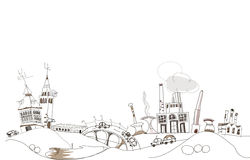 Doodle Industrial view, Environmental concept Stock Image