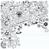 Doodle Inky do vetor da estrela mundial dos Doodles do Scribble Fotos de Stock Royalty Free