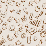 Doodle internet icons seamless background Royalty Free Stock Photos