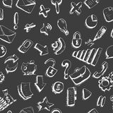 Doodle internet icons seamless background Stock Photos
