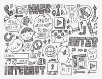 Doodle internet web background Stock Photo