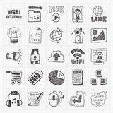 Doodle internet web icon set Stock Photography