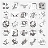Doodle internet web icon set stock illustration