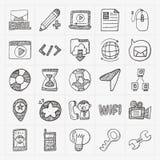 Doodle internet web icon set vector illustration