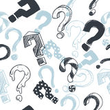 Doodle interrogation marks vector seamless background. Endless pattern with sketch question mark Royalty Free Stock Images