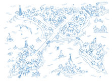 Doodle islands map. Royalty Free Stock Image