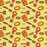 Doodle isolated seamless pattern of dog items elements. Pet icons walking, feeding, grooming salon equipment Stock Photography