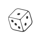Doodle jeden kasyna kostka do gry Obraz Stock