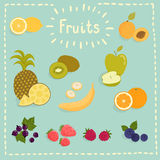 Doodle juicy fruits in color Stock Image